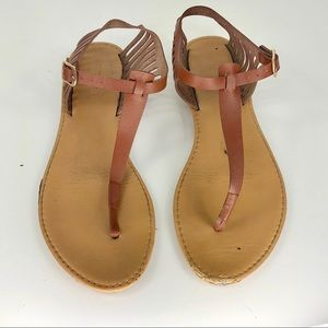 Charlotte Russe Brown Leather Caged Thong Sandals